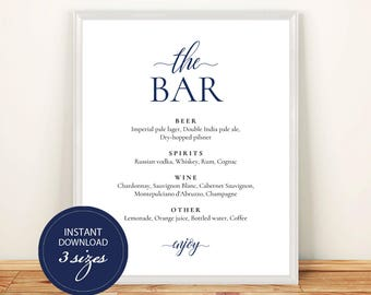 Pdf Template Bar Menu 8x10, 11x14, 16x20 Navy Blue Wedding Bridal Shower INSTANT DOWNLOAD Bar Menu Editable Alcohol Menu Printable #DP120_11