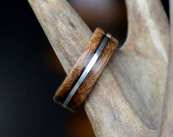 Men's Wedding Band: Jack Daniels Barrel Stave Wood Inlay Ring. outdoor staghead, staghound ring, wood designs