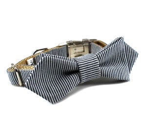 Luxury Dog or Cat Bow Tie - The LINUS // Contemporary (Blue Railroad Stripe Print)