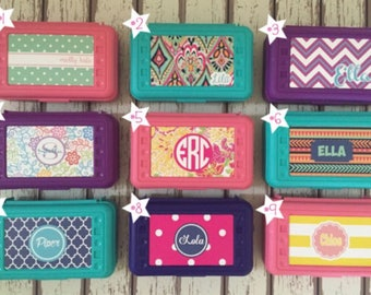 Personalized Pencil Box.  Custom Supply Boxes for Girls.