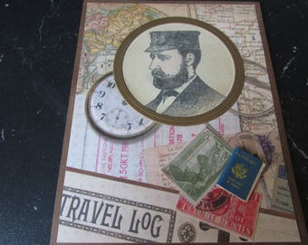 """Victorian Father""""s Day Card, Travel log, passport, for the world traveler, """"Happy Father's Day"""""""