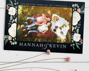 Chalkboard Floral Wedding Save the Date