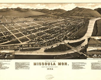 Missoula Mon Panoramic Map Dated 1884. This print is a wonderful wall decoration for Den, Office, Man Cave or any wall.