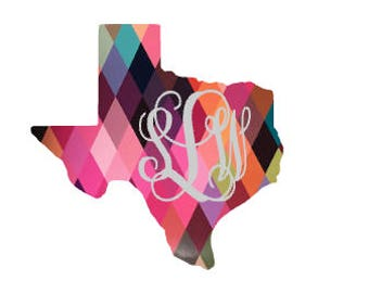 Glitter Monogram pattern texas