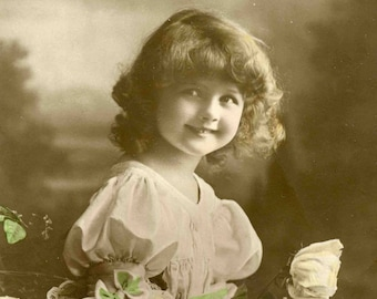 Young Girl with Flowers | Edwardian Child | Studio Portrait | Antique Postcard | Rotary Postcard | Real Photograph | Circulated | 1914