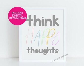 Peter Pan Nursery art, Think Happy Thoughts, Nursery Wall Art, Children decor, Inspirational Art Print, motivational art, nursery print