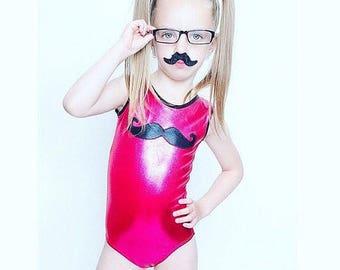 Gymnastics leotard,moustache, toddler costume, dance, ballet, swimsuit, 2T, 3T, 4T, 5Y, 6Y, athlechik, kids, girls, natation, canada, pink