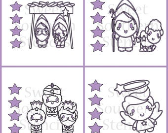 Nativity Characters PYO Cookie Stencil (4 Separate Stencils)
