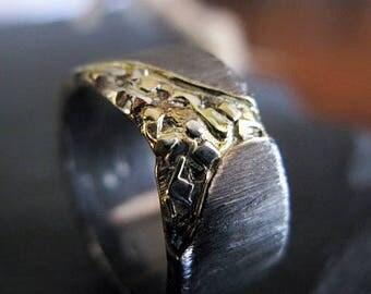 Black Gold Ring Cobblestone 10mm Unisex Ring Mens Rings Mens Wedding Band Viking Wedding Ring Mens Wedding Bands Mens Wedding Rings Unique