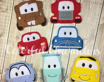 Car finger puppets, pretend play, gifts, party favors, quiet play, stocking stuffers