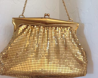 Whiting and Davis Gold Mesh Wrist Purse with Gold Mesh