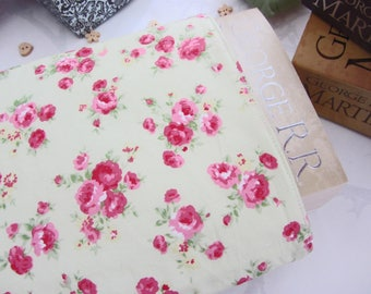 Book Sleeve - Pink Roses on Green - Book Cover - Book Protector - Bookworm Gift - Reusable Book Cover - Paperback Cover - Fabric Book Cover