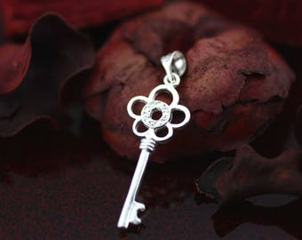 Sterling Silver Key Necklaces, Flower Key Necklace, Victorian Key Necklace, Key of my Heart Necklace, Silver Key Necklaces, Flower Key Charm