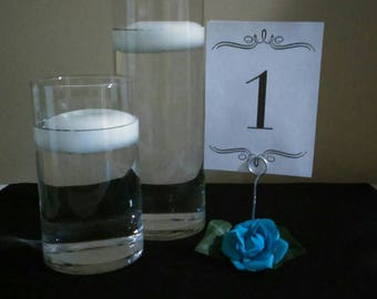 Set of 6 Rose (U-Pick Color) Table Number Holders