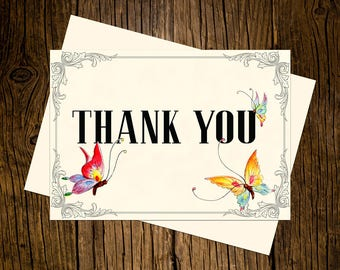 Butterfly Thank You Note Cards Custom Printed Handmade Stationery Set of 12 Blue Pink Vintage Ecru