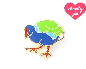 Takahē Enamel Pin (takahe pin new zealand lapel pin badge enamel jewelry cute bird jewelry endangered conservation cloisonne backpack pins)