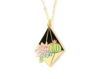 Night Terrarium Necklace (succulent terrarium cactus necklace enamel jewelry cute plant jewelry succulent necklace cloisonne gift for plant)