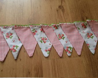 Strawberry tea party bunting. 5 meters.  9 flags