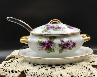 Vintage Lefton Sugar Bowl with Glass Spoon, Vintage Japan Sugar Boat, Lefton Violets, Jelly Boat, Vintage Lefton