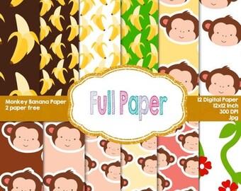 Monkey Banana Digital Papers-Monkey paper-Banana paper-Digital Paper-Curious George invite-paper decor-Party Suplies-Party Decor-Birthday