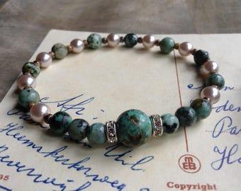 Romantic bracelet womens jewelry shabby chic bracelet shabby chic jewelry romantic jewelry gift for her beaded bracelet gemstone bracelet