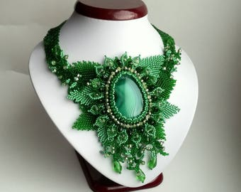 Agate Beadwork Necklace, Seed Bead Necklace, Gemstone necklace, Green  necklace, crystals necklace.