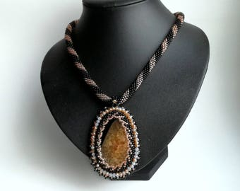 Agate Embroidered Pendant , Vintage Style , Seed Beads Necklace,  stone pendant, Black/ Orange pendant.