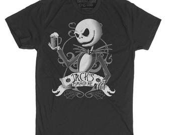 Halloween Jack Skellington Shirt - Nightmare Before Christmas T Shirt - Jack Drinking Pumpkin Ale Printed on a Men's T Shirt