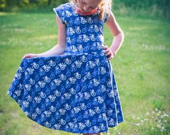 SADIE dress|| bike dress, knit dress, twirly dress, ballet scoop back, flutter sleeves