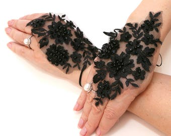 Wedding Gloves, Black Gloves, Lace Gloves, Pearls Gloves, Fingerless Gloves, Party Gloves, Bridal Gloves, Evening Gloves, Christmas Gloves
