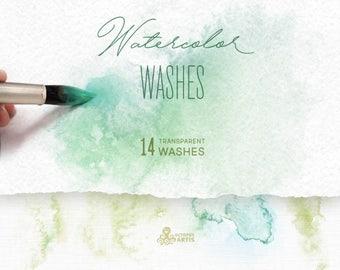 Watercolor Washes. 14 Abstract transparent brush splashes, crystal, clipart, invitation, resources, wedding, bridal, minimal, logo, png, diy