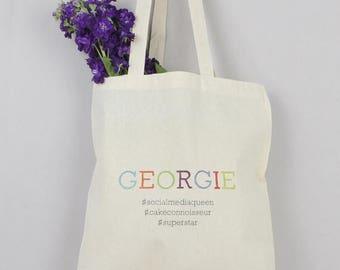 SUMMER SALE Hashtag Tote Bag - Custom Name Bag - Tote Bag - Shopping Bag - Book Bag - Colorful Bag - Friend Gift