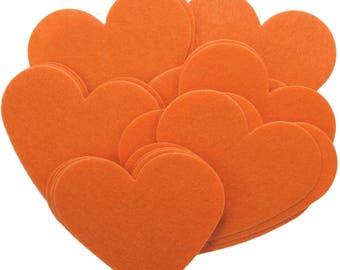 Orange Stiff Felt 3 Inch Hearts (22pc)
