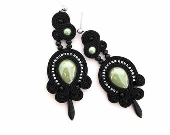Green earrings, statement earrings, black earrings, screw back earrings, embroidered earrings, boho earrings, beaded earrings, drop earrings