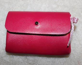 Wallet leather Rose and Ribbon