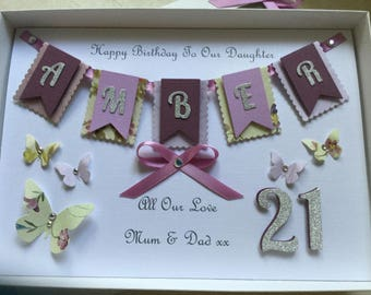 Birthday Card Handmade Personalised Gift Boxed 16 18 21 30 40 50 Bunting Keepsake Daughter Granddaughter Mum Mom Wife Nan Sister Niece