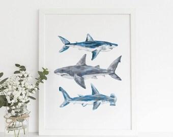 Shark Printable, Printable Shark Art, Shark Decor, Shark Art Print, Nursery Shark Print, Great White Shark, Hammerhead Shark Art Printables