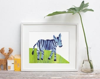 Framed Cut Paper Zebra: Art Print, Nursery, Abstract Animal Print, Free Shipping