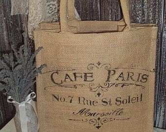 "Paris inspired Cafe Paris  Burlap  Bag 12"" x 12 """