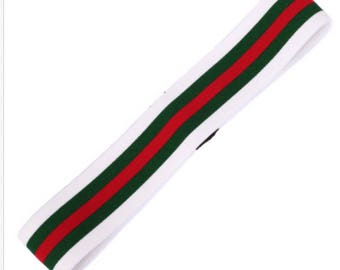 Designer Inspired headbands stretch white green black with green red stripe
