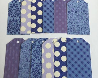 Blue gift tags, Blue pattern cards, Gift wrapping, handmade tags, baby shower, birthday, set of 12