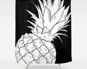 pineapple shower curtain tropical shower curtain shower curtain design bath curtain bathroom