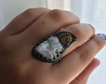 Unicorn & Angel Aura Geode Sterling adjustable Ring (ring sizes 6-8.5)