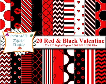 Red, White and Black Valentines Day Digital Paper Pack, Valentine Digital Scrapbook Paper, Digital Valentine Day Printable, Instant Download