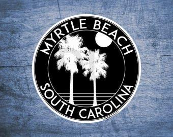"Myrtle Beach South Carolina Beach Sticker Decal 3"" x 3"""