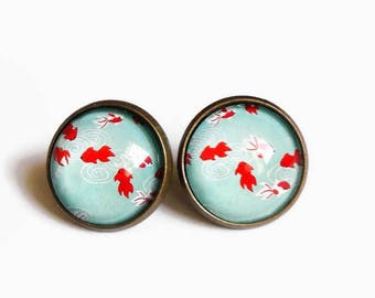 Stud post earrings * Japanese koi carp * blue red fish, fairy carabochon glass cabochon