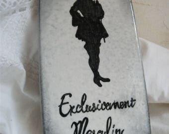 Plaque en lave émaillée : silhouette Exclusivement Masculin