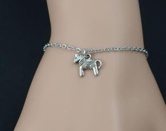 tiny pony bracelet, sterling silver filled, silver horse charm, circus pony bracelet, equestrian jewelry, little girl, adjustable bracelet