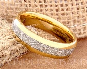 Tungsten Wedding Ring Band Meteorite Ring Mens Women's Wedding Ring Anniversary Ring Dome 6mm Yellow Gold Matching Ring Set Perfect Gift New