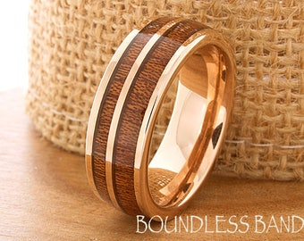 Rose Gold Double Wood Inlay Tungsten Ring Wood Wedding Band Dome High Polished Wedding Ring Promise Ring Women Mens Tungsten Ring 8mm New
